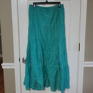 New Sz L Mountain Lake Cotton Boho Peasant Skirt